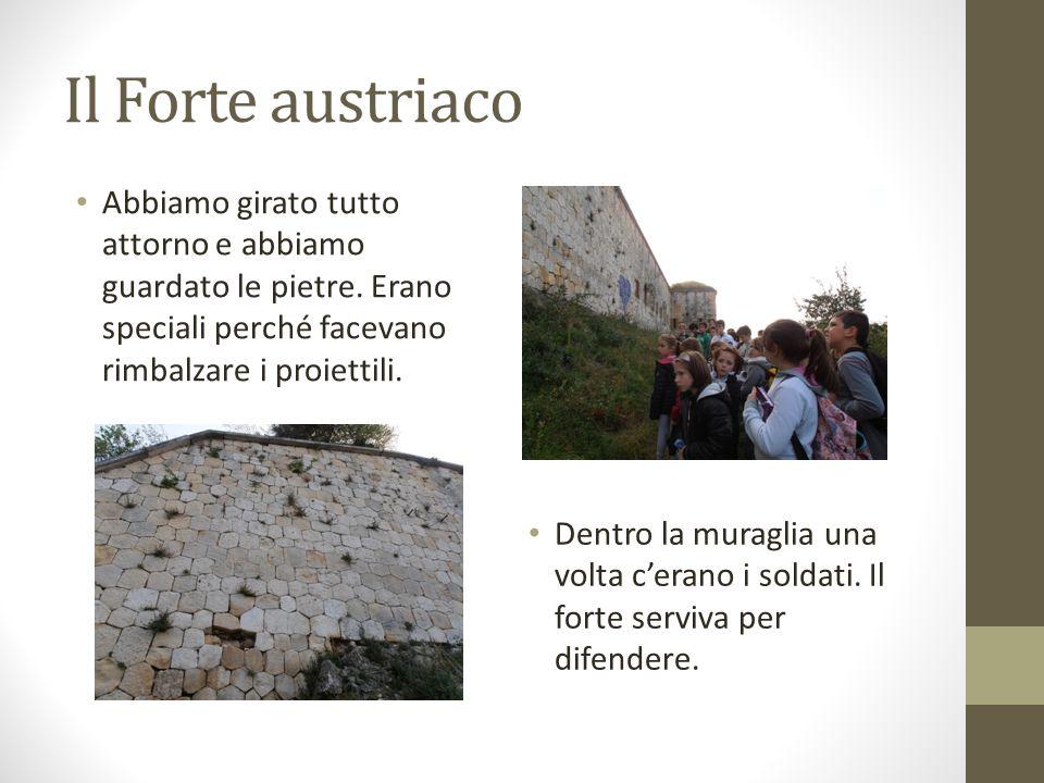 Il Forte austriaco Abbiamo girato tutto attorno e abbiamo guardato le pietre. Erano speciali perché facevano rimbalzare i proiettili. Dentro la muragl