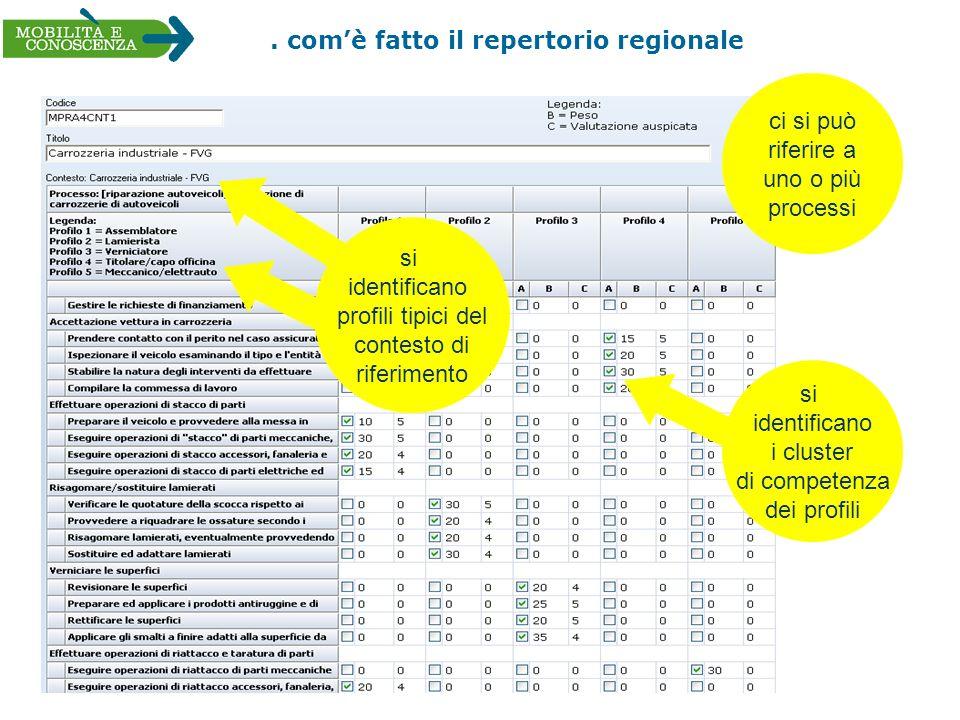 . comè fatto il repertorio regionale si identificano profili tipici del contesto di riferimento ci si può riferire a uno o più processi si identifican