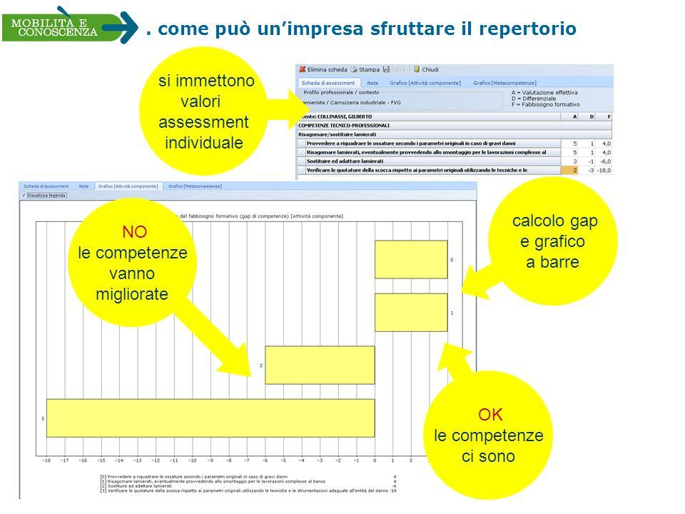 . come può unimpresa sfruttare il repertorio calcolo gap e grafico a barre si immettono valori assessment individuale NO le competenze vanno migliorat