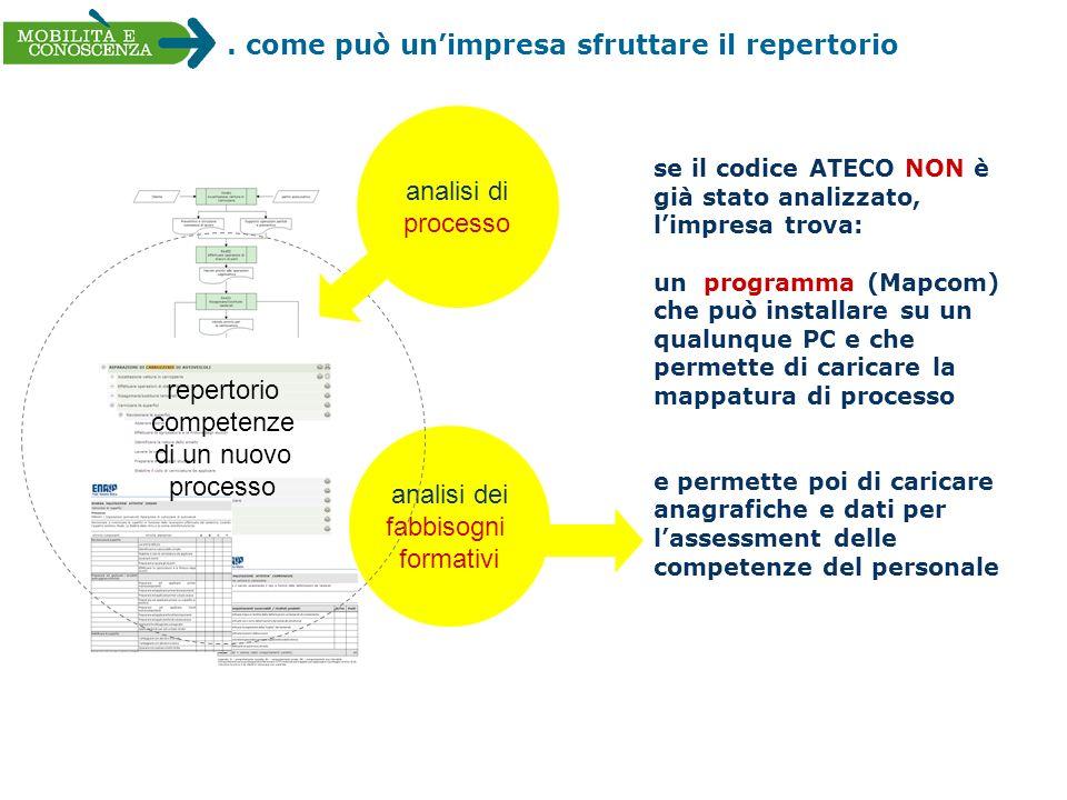 . come può unimpresa sfruttare il repertorio analisi dei fabbisogni formativi repertorio competenze di un nuovo processo se il codice ATECO NON è già