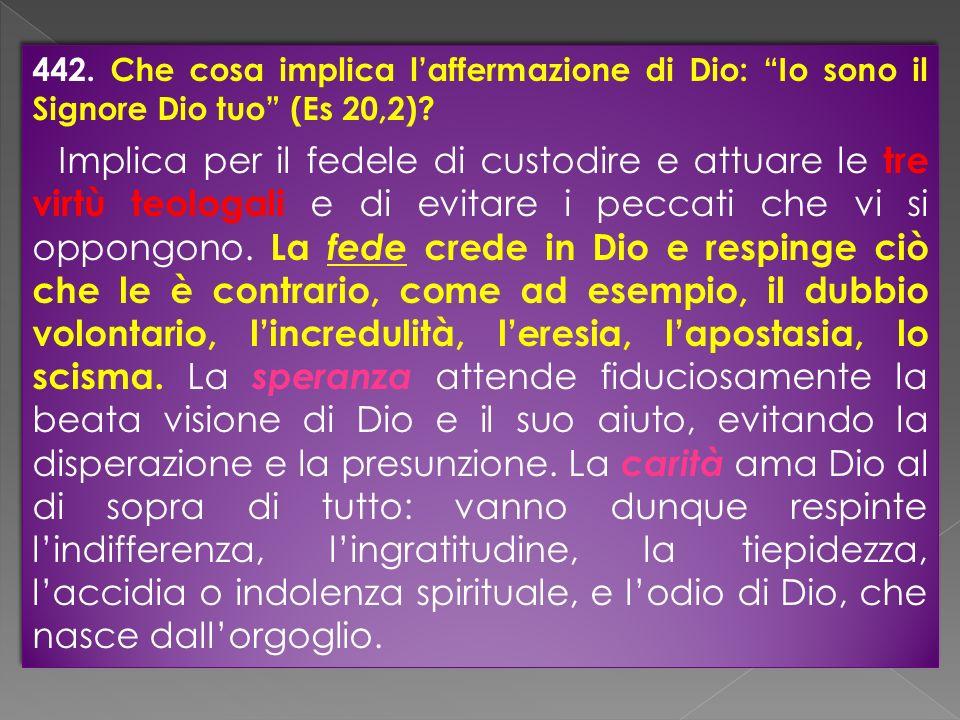 442. Che cosa implica laffermazione di Dio: Io sono il Signore Dio tuo (Es 20,2)? Implica per il fedele di custodire e attuare le tre virtù teologali