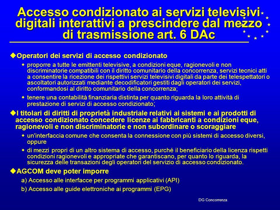 DG Concorrenza 5 Mercati del prodotto individuati in BiB (a)Servizi televisivi digitali interattivi ** (b)Pay-TV ** (c)Offerta allingrosso di canali sportivi e di film per la pay-TV (c) (d)Servizi tecnici per i servizi televisivi digitali interattivi e di pay-TV ** (e)Mercato delle infrastrutture di accesso al cliente per servizi di telecomunicazione e servizi connessi *