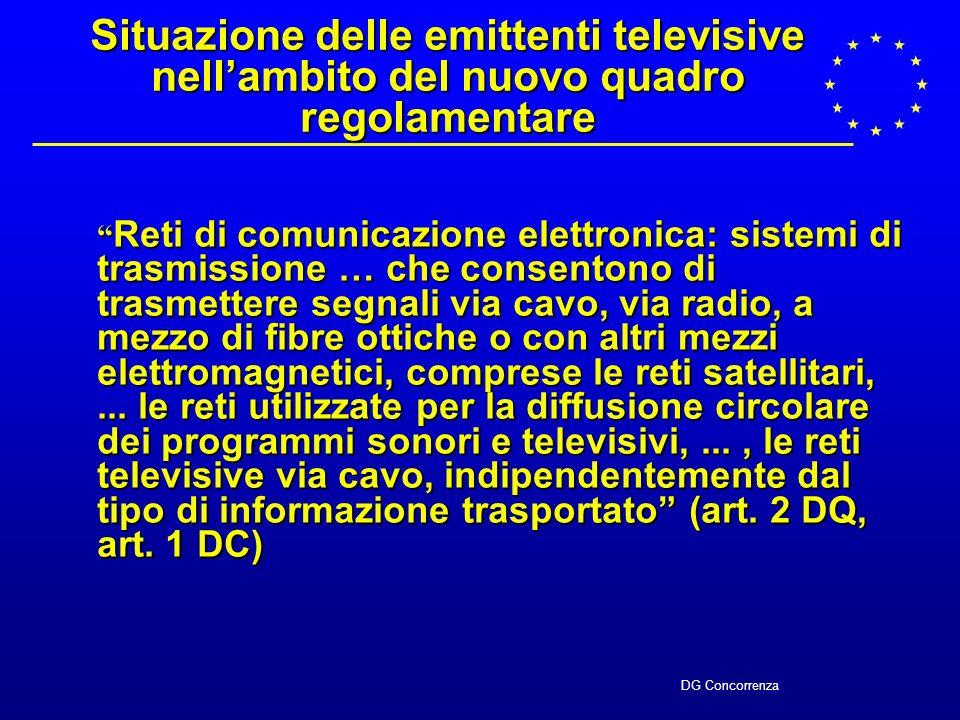 DG Concorrenza Convegno IIC - AGCOM 29 ottobre 2002 Convegno IIC - AGCOM 29 ottobre 2002 Implicazioni del nuovo quadro comunitario e della direttiva 2002/77 sulla diffusione televisiva Christian Hocepied Commissione Europea DG Concorrenza