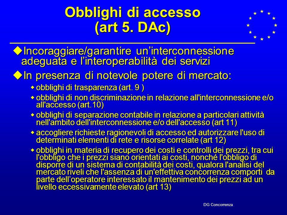 DG Concorrenza Obblighi di accesso (art 5.