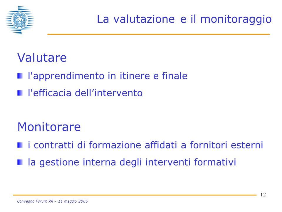 12 Convegno Forum PA - 11 maggio 2005 La valutazione e il monitoraggio Valutare l apprendimento in itinere e finale l efficacia dellintervento Monitorare i contratti di formazione affidati a fornitori esterni la gestione interna degli interventi formativi