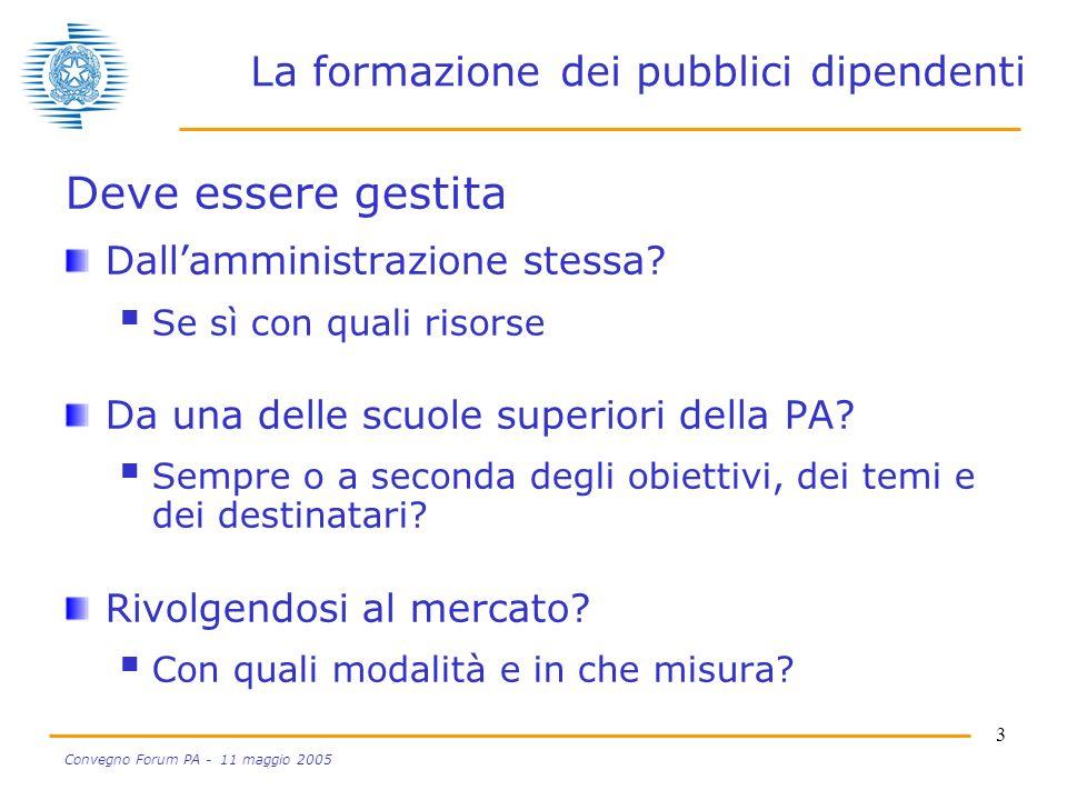 4 Convegno Forum PA - 11 maggio 2005 La formazione dei pubblici dipendenti La scelta tra le 3 alternative è una scelta di qualità o di convenienza.