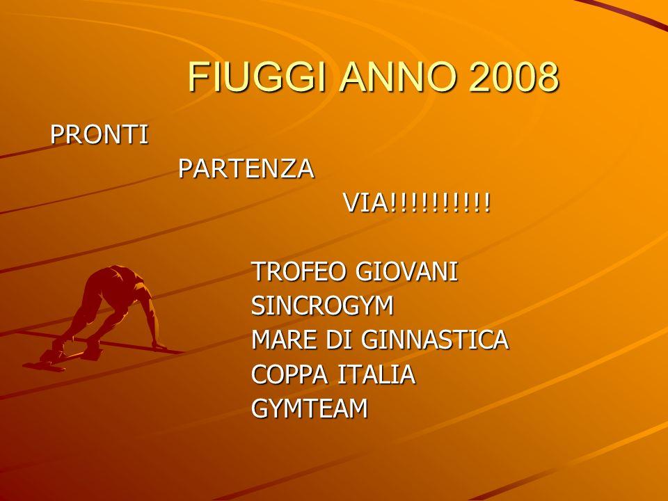 FIUGGI ANNO 2008 FIUGGI ANNO 2008 PRONTI PRONTI PARTENZA PARTENZA VIA!!!!!!!!!! VIA!!!!!!!!!! TROFEO GIOVANI TROFEO GIOVANI SINCROGYM SINCROGYM MARE D