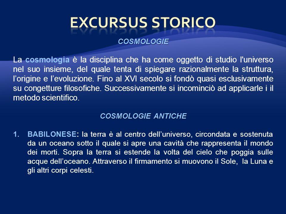 COSMOLOGIE La cosmologia è la disciplina che ha come oggetto di studio l'universo nel suo insieme, del quale tenta di spiegare razionalmente la strutt