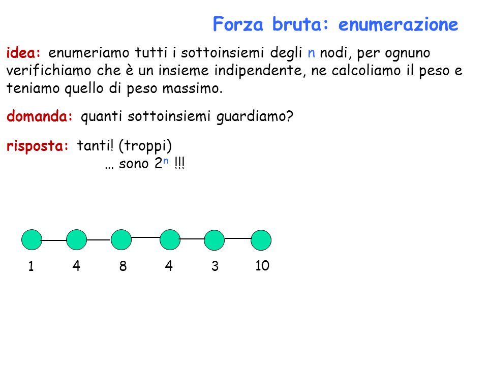 Forza bruta: enumerazione domanda: quanti sottoinsiemi guardiamo? risposta: tanti! (troppi) … sono 2 n !!! 14843 10 idea: enumeriamo tutti i sottoinsi