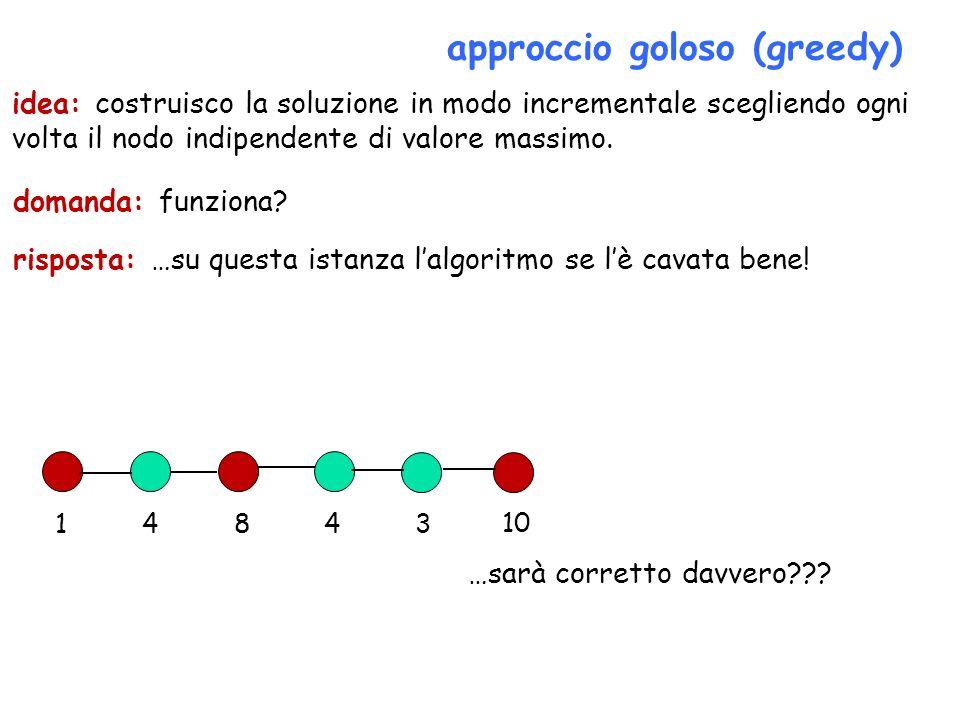 approccio goloso (greedy) domanda: funziona? 14843 10 idea: costruisco la soluzione in modo incrementale scegliendo ogni volta il nodo indipendente di