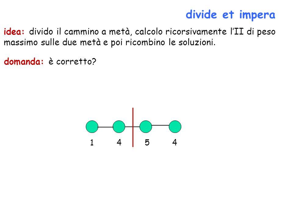 divide et impera domanda: è corretto? idea: divido il cammino a metà, calcolo ricorsivamente lII di peso massimo sulle due metà e poi ricombino le sol