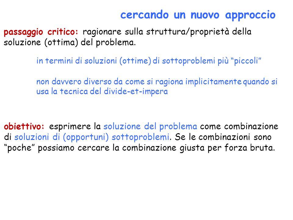 cercando un nuovo approccio passaggio critico: ragionare sulla struttura/proprietà della soluzione (ottima) del problema. obiettivo: esprimere la solu
