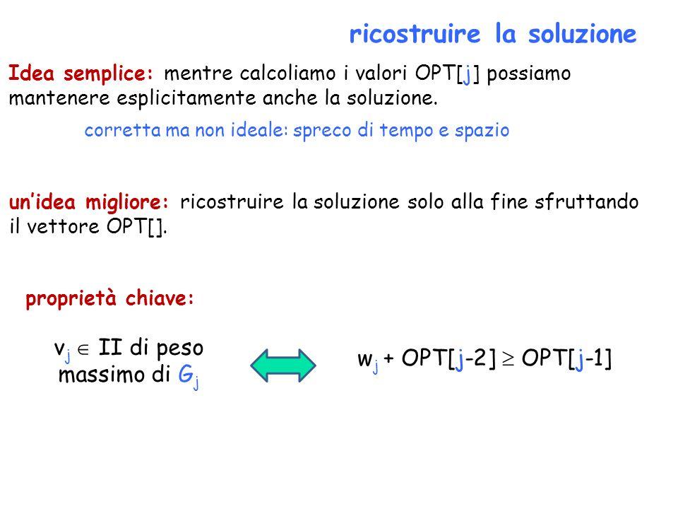 ricostruire la soluzione Idea semplice: mentre calcoliamo i valori OPT[j] possiamo mantenere esplicitamente anche la soluzione. unidea migliore: ricos