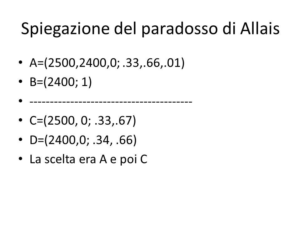 Spiegazione del paradosso di Allais A=(2500,2400,0;.33,.66,.01) B=(2400; 1) ---------------------------------------- C=(2500, 0;.33,.67) D=(2400,0;.34,.66) La scelta era A e poi C