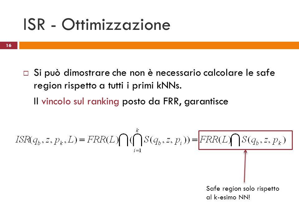 ISR - Ottimizzazione Si può dimostrare che non è necessario calcolare le safe region rispetto a tutti i primi kNNs. Il vincolo sul ranking posto da FR