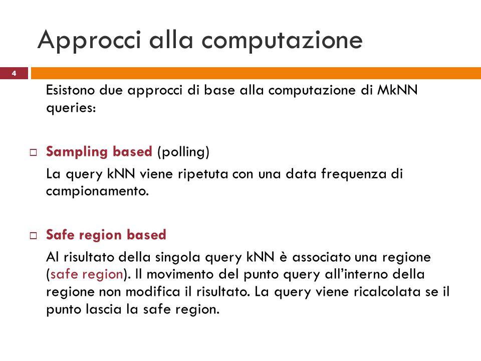 Approcci alla computazione Esistono due approcci di base alla computazione di MkNN queries: Sampling based (polling) La query kNN viene ripetuta con u