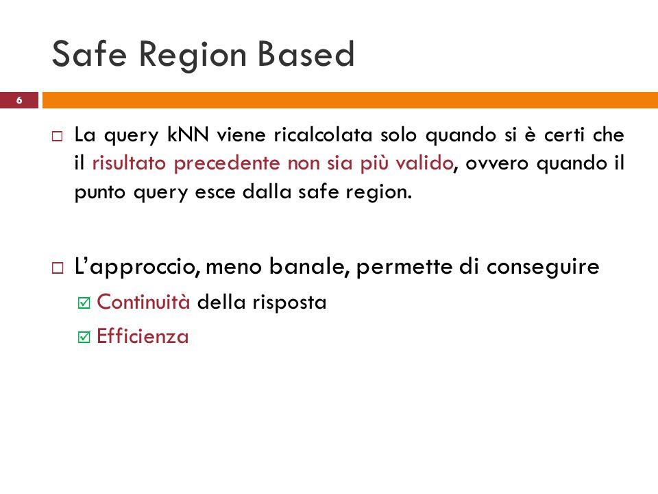 Safe Region Based La query kNN viene ricalcolata solo quando si è certi che il risultato precedente non sia più valido, ovvero quando il punto query e