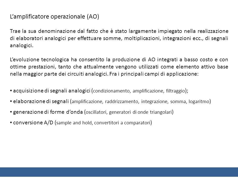 Lamplificatore operazionale (AO) Trae la sua denominazione dal fatto che è stato largamente impiegato nella realizzazione di elaboratori analogici per effettuare somme, moltiplicazioni, integrazioni ecc., di segnali analogici.