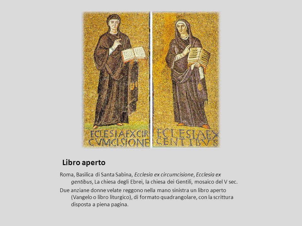 Libro aperto Roma, Basilica di Santa Sabina, Ecclesia ex circumcisione, Ecclesia ex gentibus, La chiesa degli Ebrei, la chiesa dei Gentili, mosaico de