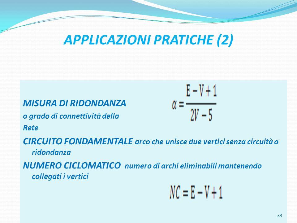 APPLICAZIONI PRATICHE (2) MISURA DI RIDONDANZA o grado di connettività della Rete CIRCUITO FONDAMENTALE arco che unisce due vertici senza circuità o ridondanza NUMERO CICLOMATICO numero di archi eliminabili mantenendo collegati i vertici 28