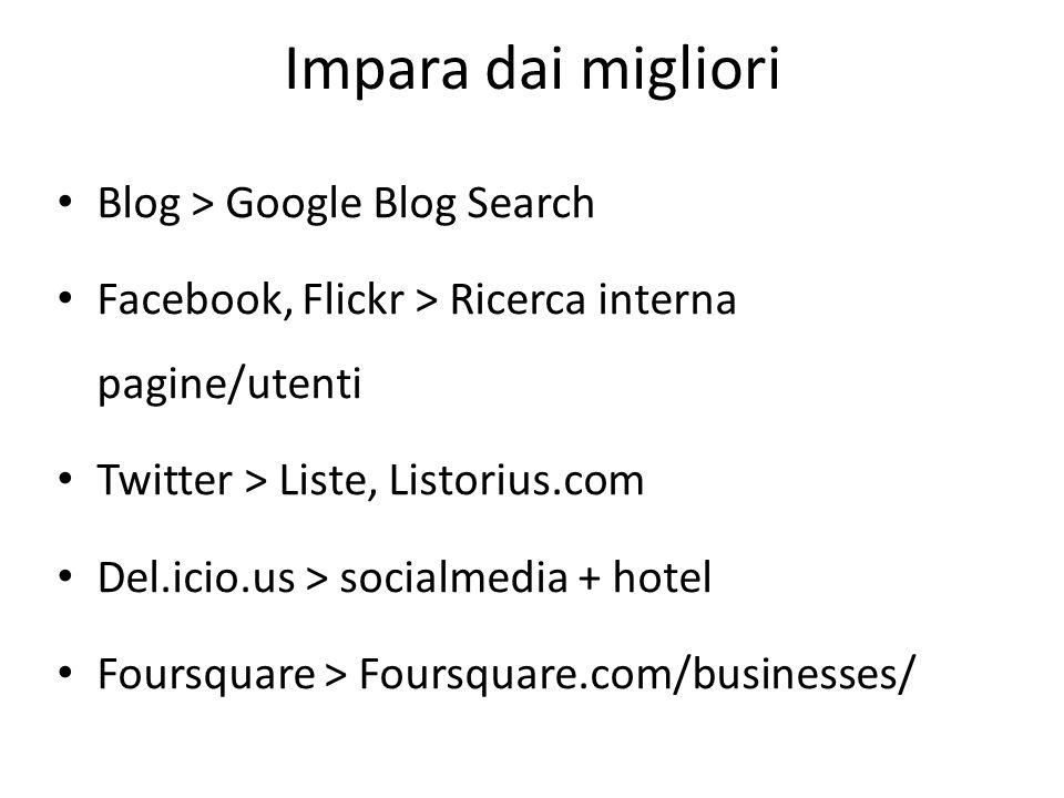 Impara dai migliori Blog > Google Blog Search Facebook, Flickr > Ricerca interna pagine/utenti Twitter > Liste, Listorius.com Del.icio.us > socialmedia + hotel Foursquare > Foursquare.com/businesses/
