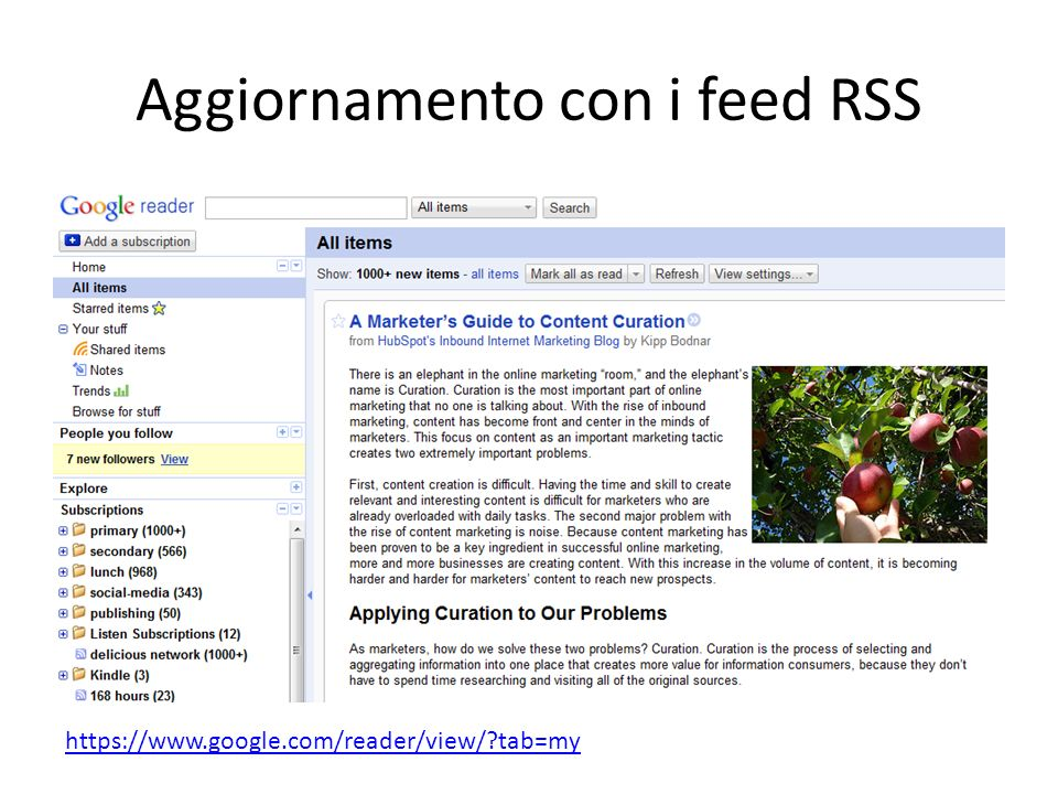 Aggiornamento con i feed RSS https://www.google.com/reader/view/ tab=my