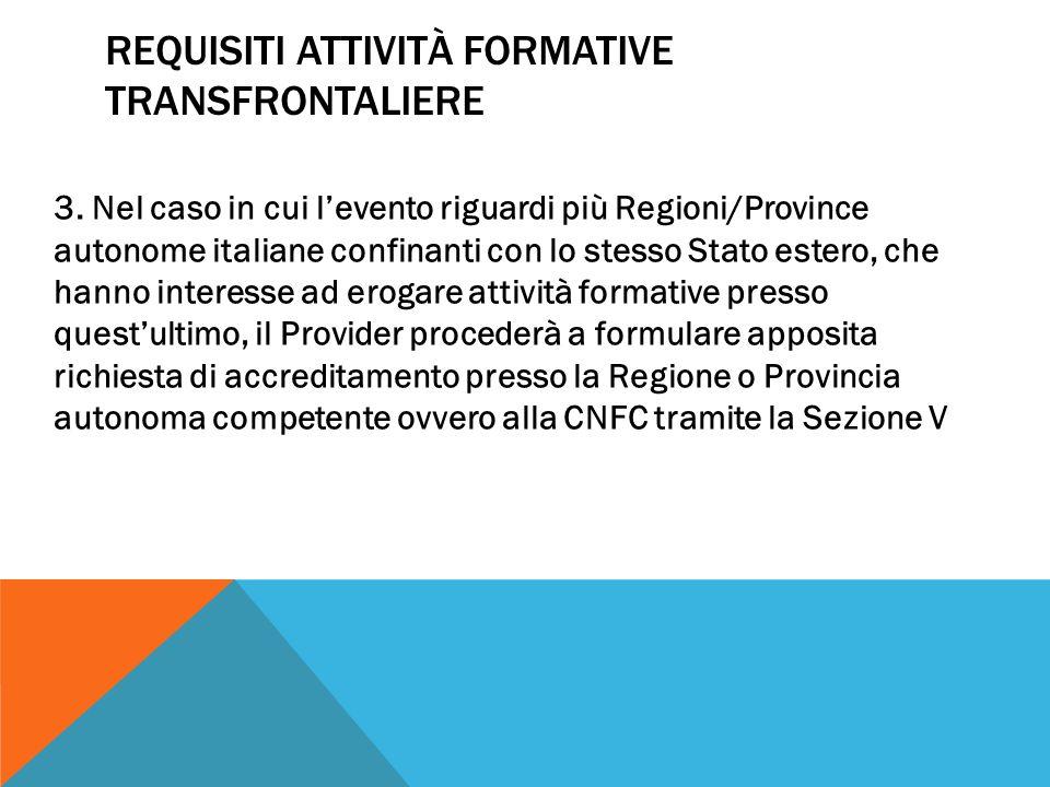 REQUISITI ATTIVITÀ FORMATIVE TRANSFRONTALIERE 3.