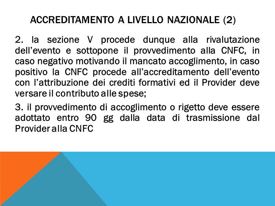 ACCREDITAMENTO A LIVELLO NAZIONALE (2) 2.