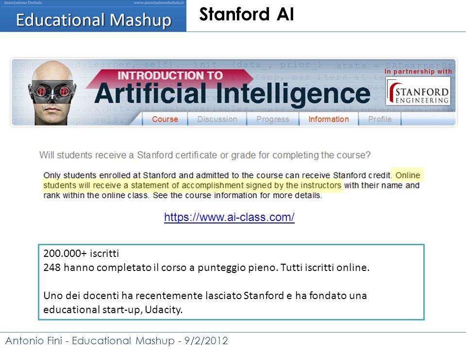 Antonio Fini - Educational Mashup - 9/2/2012 Stanford AI https://www.ai-class.com/ 200.000+ iscritti 248 hanno completato il corso a punteggio pieno.