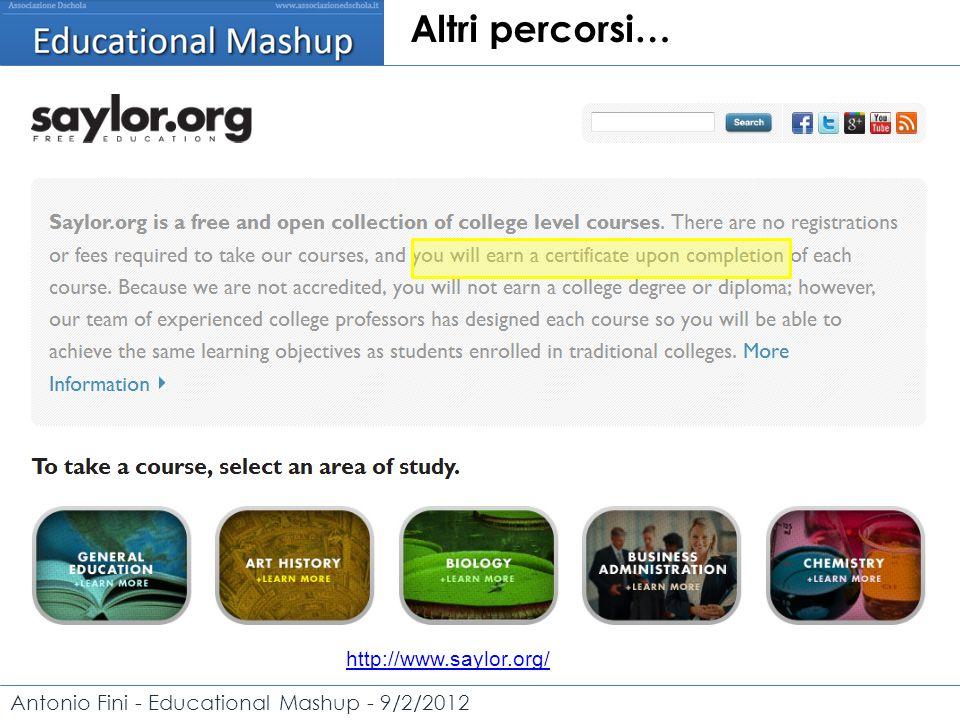 Antonio Fini - Educational Mashup - 9/2/2012 Altri percorsi… http://www.saylor.org/
