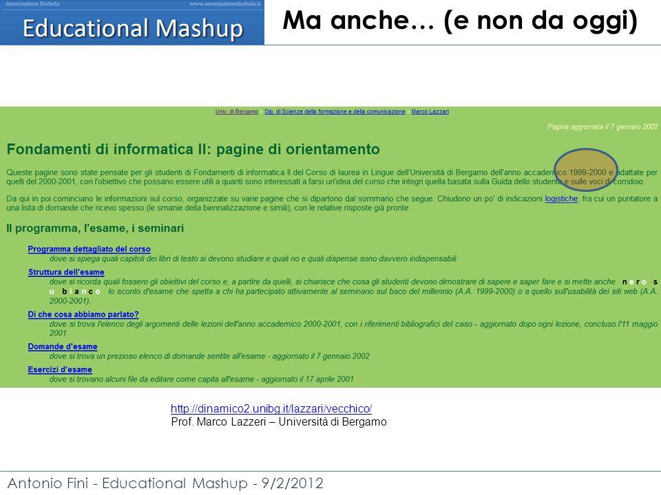 Antonio Fini - Educational Mashup - 9/2/2012 Ma anche… (e non da oggi) http://dinamico2.unibg.it/lazzari/vecchico/ Prof.