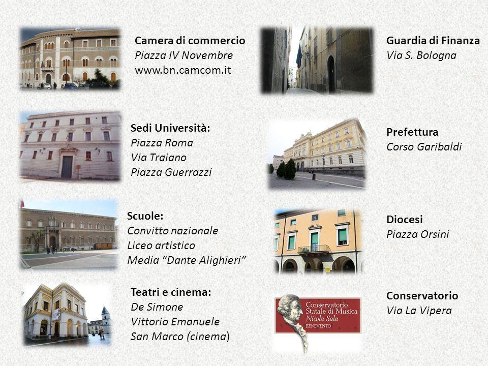 Camera di commercio Piazza IV Novembre www.bn.camcom.it Guardia di Finanza Via S. Bologna Sedi Università: Piazza Roma Via Traiano Piazza Guerrazzi Sc