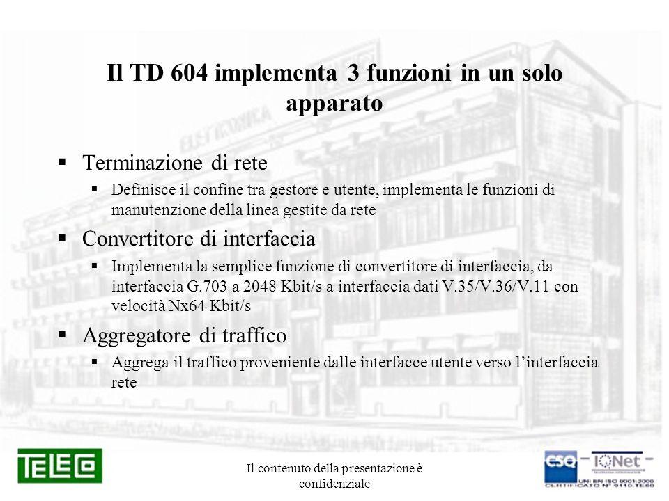Il contenuto della presentazione è confidenziale Il TD 604 implementa 3 funzioni in un solo apparato Terminazione di rete Definisce il confine tra ges
