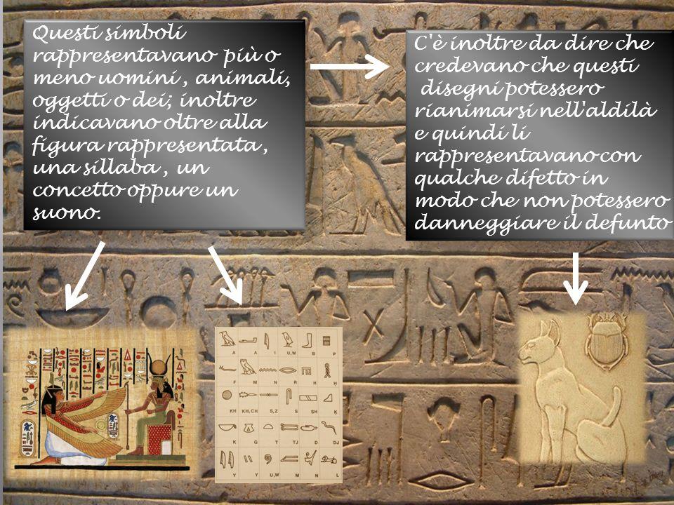 Questi simboli rappresentavano più o meno uomini, animali, oggetti o dei; inoltre indicavano oltre alla figura rappresentata, una sillaba, un concetto