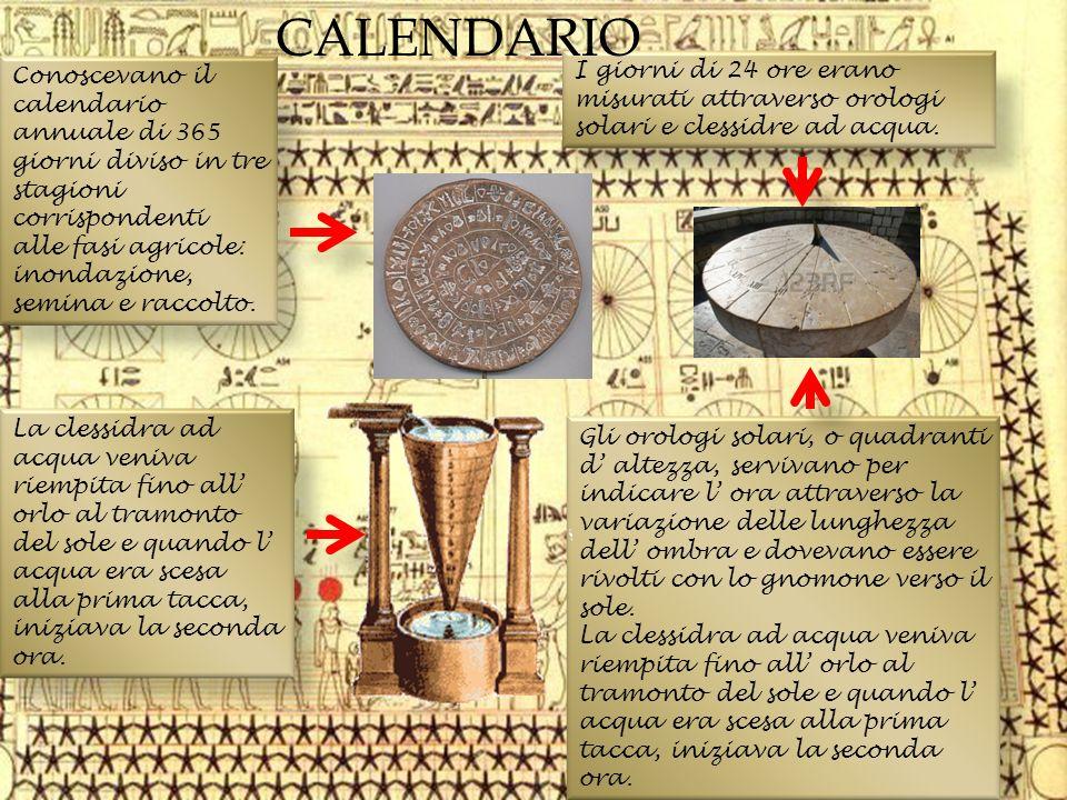 Conoscevano il calendario annuale di 365 giorni diviso in tre stagioni corrispondenti alle fasi agricole: inondazione, semina e raccolto. I giorni di