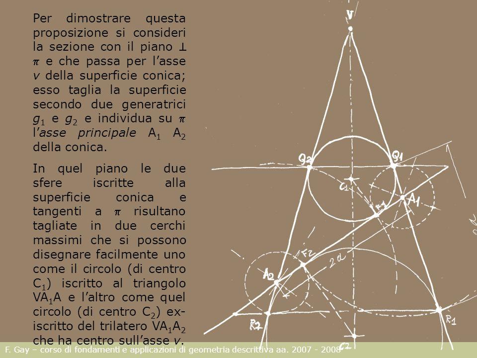 F. Gay – corso di fondamenti e applicazioni di geometria descrittiva aa. 2007 - 2008 Per dimostrare questa proposizione si consideri la sezione con il