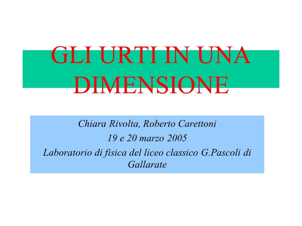 GLI URTI IN UNA DIMENSIONE Chiara Rivolta, Roberto Carettoni 19 e 20 marzo 2005 Laboratorio di fisica del liceo classico G.Pascoli di Gallarate