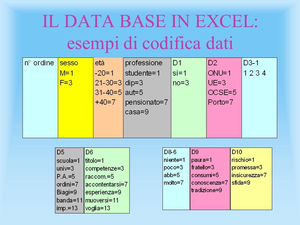 IL DATA BASE IN EXCEL: esempi di codifica dati