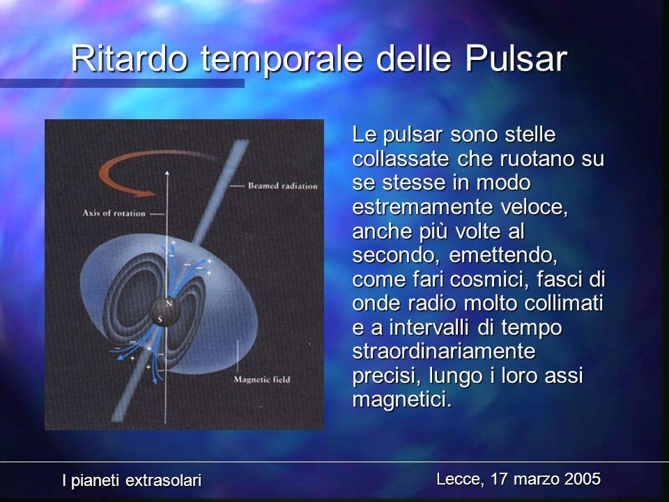 I pianeti extrasolari Lecce, 17 marzo 2005 Ritardo temporale delle Pulsar Le pulsar sono stelle collassate che ruotano su se stesse in modo estremamen