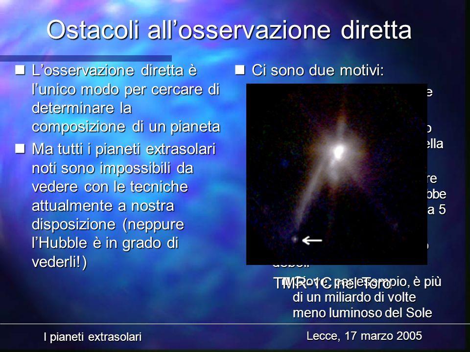 I pianeti extrasolari Lecce, 17 marzo 2005 Ostacoli allosservazione diretta nLosservazione diretta è lunico modo per cercare di determinare la composi