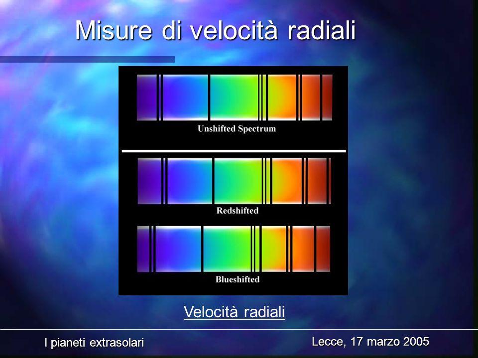 I pianeti extrasolari Lecce, 17 marzo 2005 Misure di velocità radiali Velocità radiali