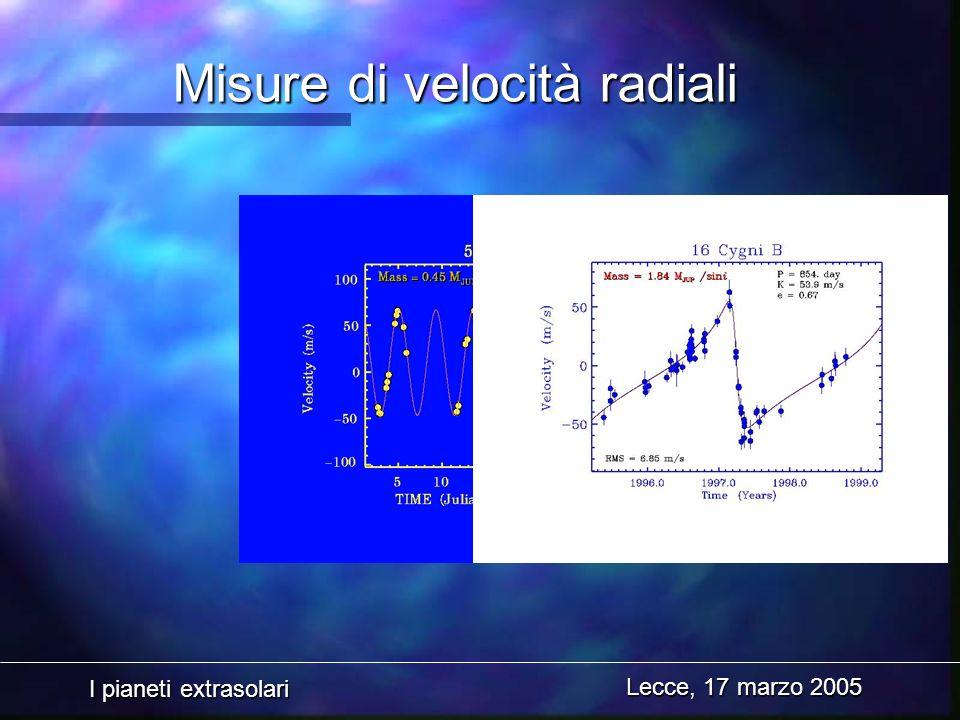 I pianeti extrasolari Lecce, 17 marzo 2005 Misure di velocità radiali