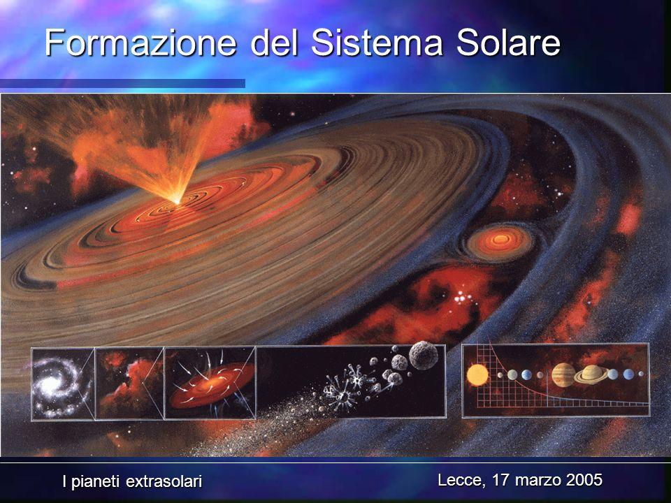 I pianeti extrasolari Lecce, 17 marzo 2005 Formazione del Sistema Solare
