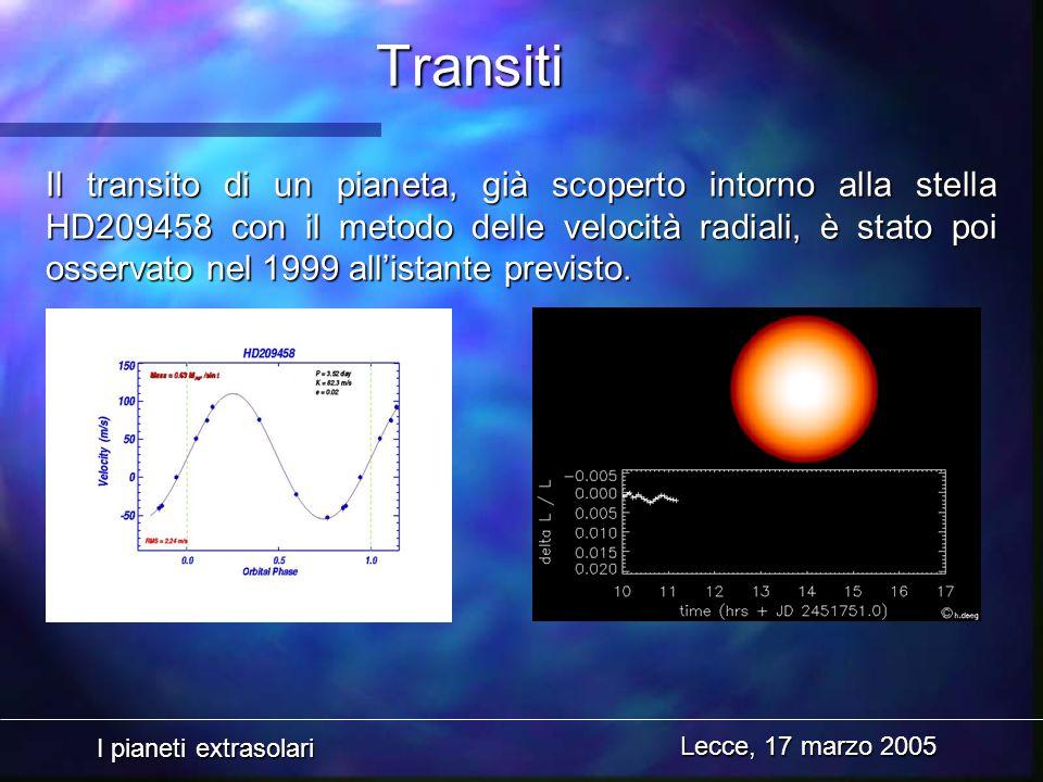 I pianeti extrasolari Lecce, 17 marzo 2005 Il transito di un pianeta, già scoperto intorno alla stella HD209458 con il metodo delle velocità radiali,