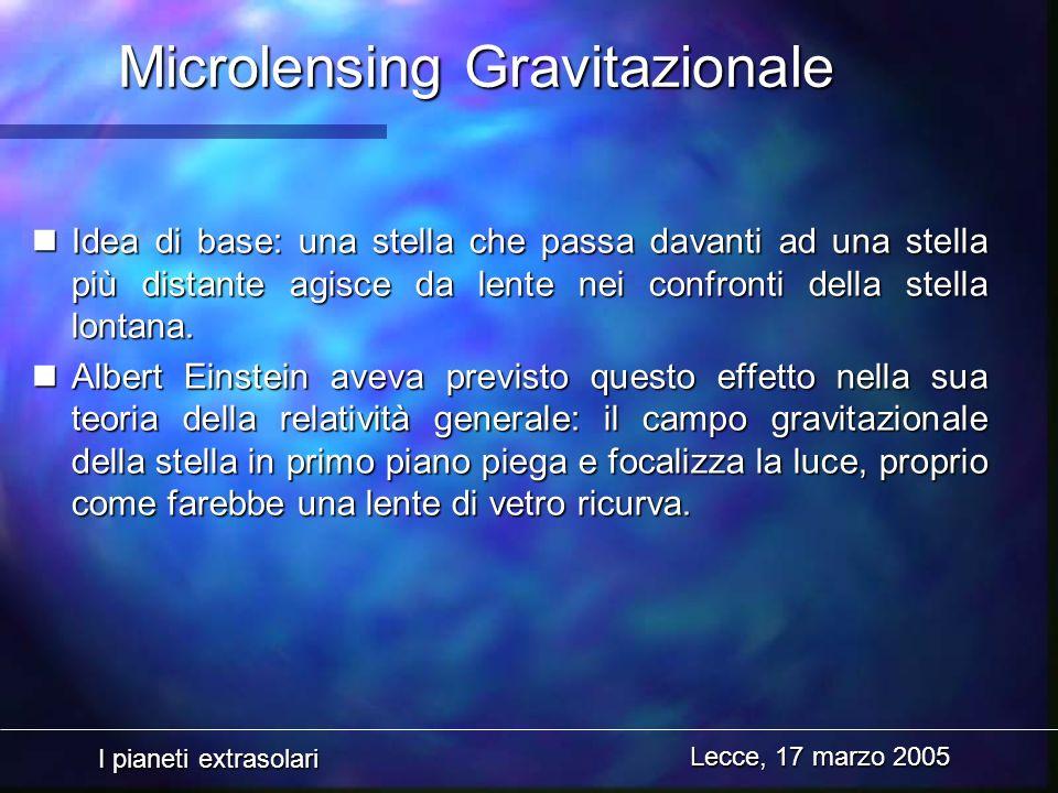 I pianeti extrasolari Lecce, 17 marzo 2005 Microlensing Gravitazionale nIdea di base: una stella che passa davanti ad una stella più distante agisce d