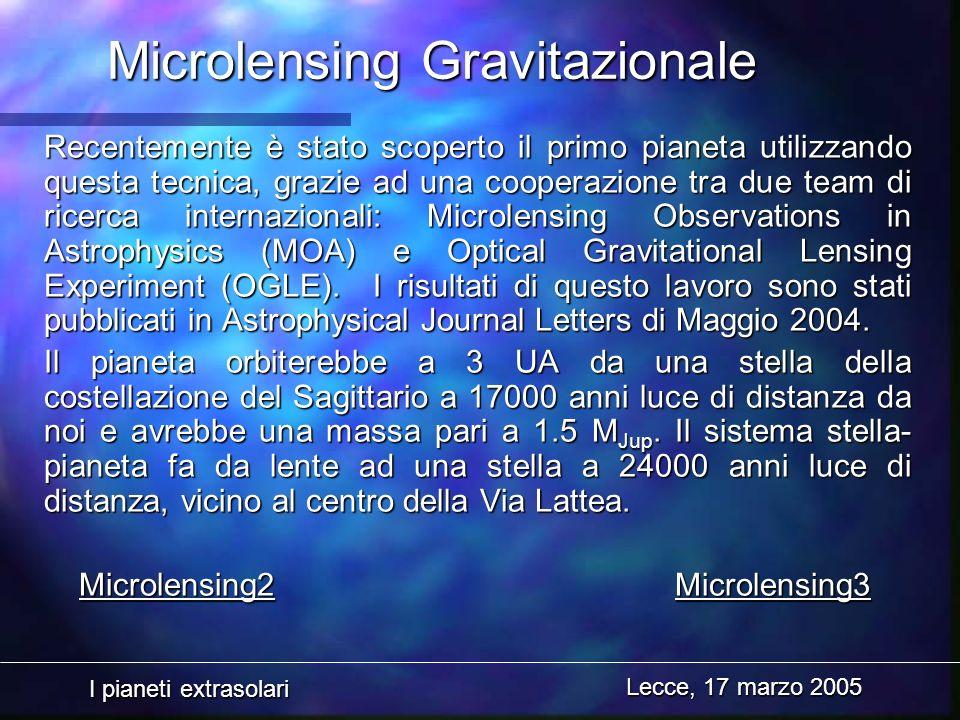 I pianeti extrasolari Lecce, 17 marzo 2005 Microlensing Gravitazionale Recentemente è stato scoperto il primo pianeta utilizzando questa tecnica, graz