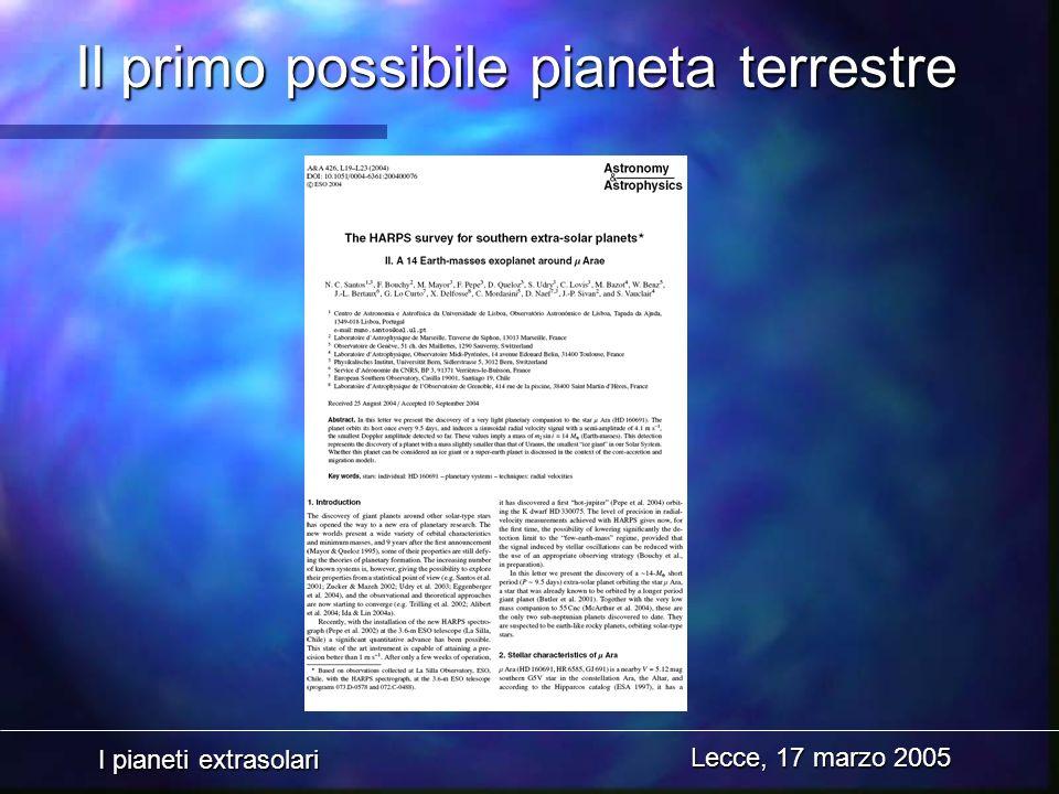 I pianeti extrasolari Lecce, 17 marzo 2005 Il primo possibile pianeta terrestre