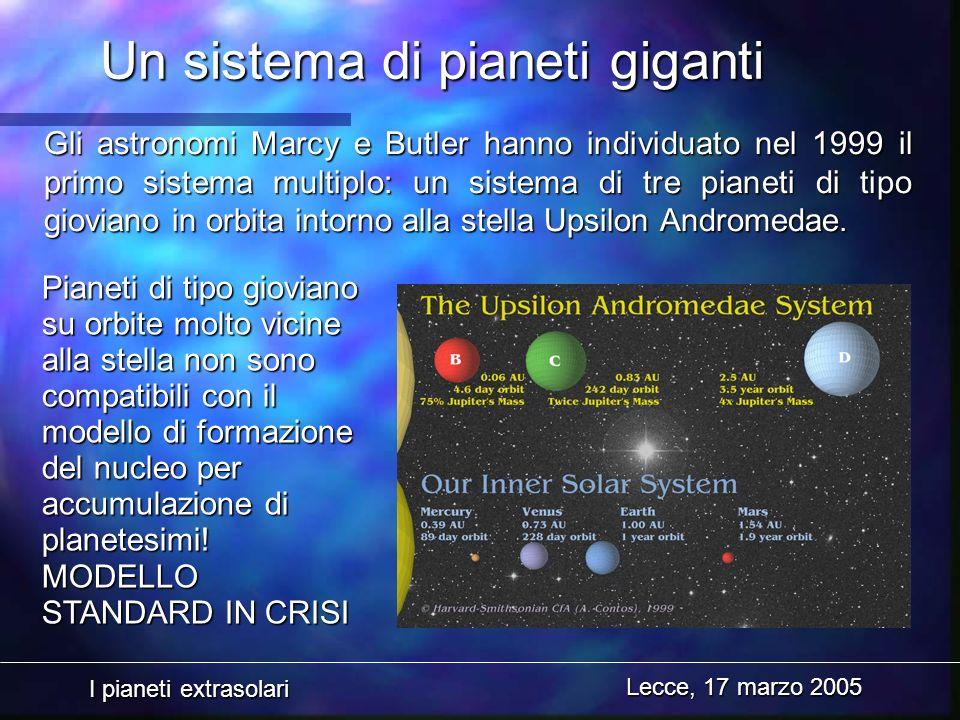 I pianeti extrasolari Lecce, 17 marzo 2005 Un sistema di pianeti giganti Gli astronomi Marcy e Butler hanno individuato nel 1999 il primo sistema mult