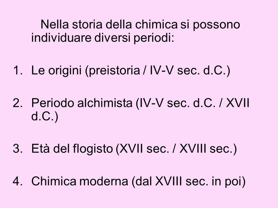 Nella storia della chimica si possono individuare diversi periodi: 1.Le origini (preistoria / IV-V sec. d.C.) 2.Periodo alchimista (IV-V sec. d.C. / X