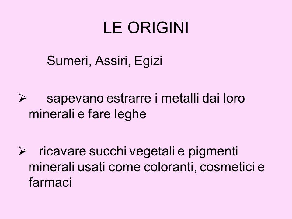 LE ORIGINI Sumeri, Assiri, Egizi sapevano estrarre i metalli dai loro minerali e fare leghe ricavare succhi vegetali e pigmenti minerali usati come coloranti, cosmetici e farmaci
